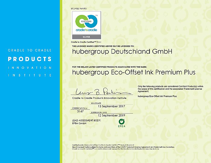 "Certyfikat Cradle-to-Cradle dla ""hubergroup Eco Offset Ink Premium Plus"""